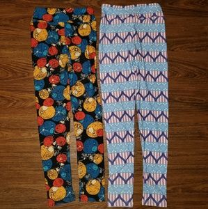 2 Lularoe Sz Tween Christmas & Patriotic Leggings